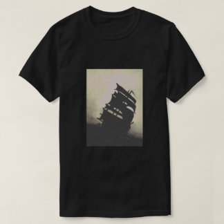 Black Pearl hand-painted storm ships T-Shirt