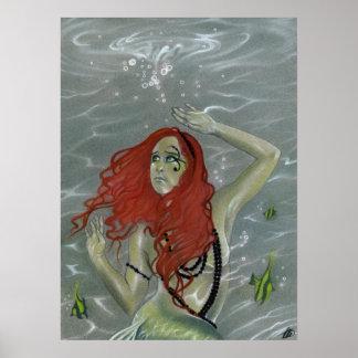 Black Pearls Mermaid Poster