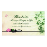 Black pebbles, lotus, bamboo Spa Business Card