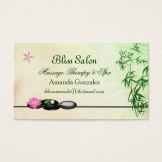 Black pebbles, lotus, bamboo Spa Business Card