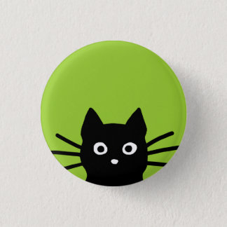 Black Peeking Cat Button