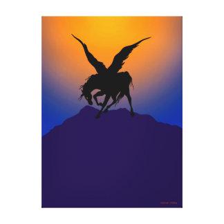 """Black Pegasus at the Dawn of Time"" Canvas Print"
