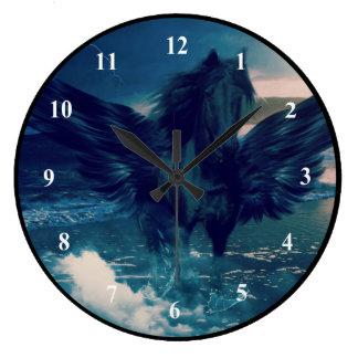 Black Pegasus Emerging From The Sea Large Clock