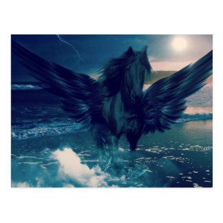 Black Pegasus Emerging From The Sea Postcard