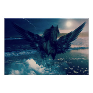 Black Pegasus Emerging From The Sea Poster