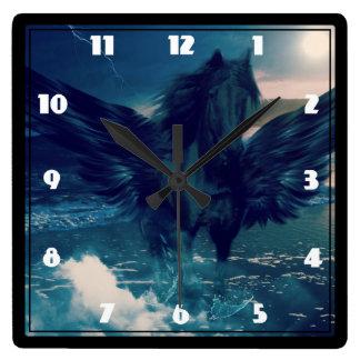 Black Pegasus Emerging From The Sea Square Wall Clock