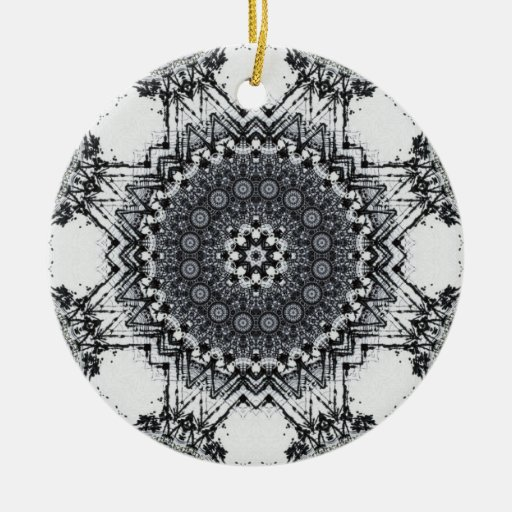 Black Pen Sketch Abstract Mandala Double-Sided Ceramic Round Christmas Ornament