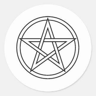 Black Pentacle Classic Round Sticker