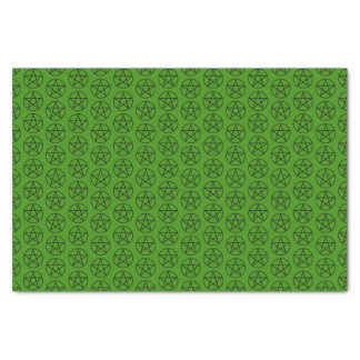 Black Pentagram on Green Tissue Paper