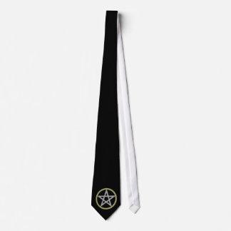Black Pentagram Pentacle Witch Wiccan Magic Tie