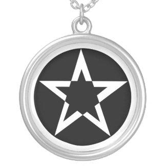 Black Pentagram Round Pendant Necklace