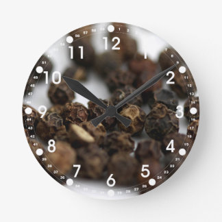 Black Pepper Round Clock