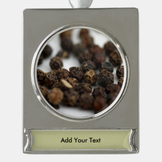 Black Pepper Silver Plated Banner Ornament