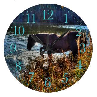 Black Percheron Stallion Playing at Lake's Edge Large Clock