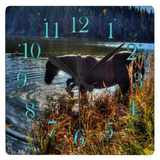 Black Percheron Stallion Playing at Lake's Edge Square Wall Clock