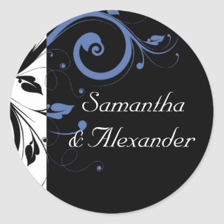 Black Periwinkle Cornflower Blue Floral Wedding Classic Round Sticker
