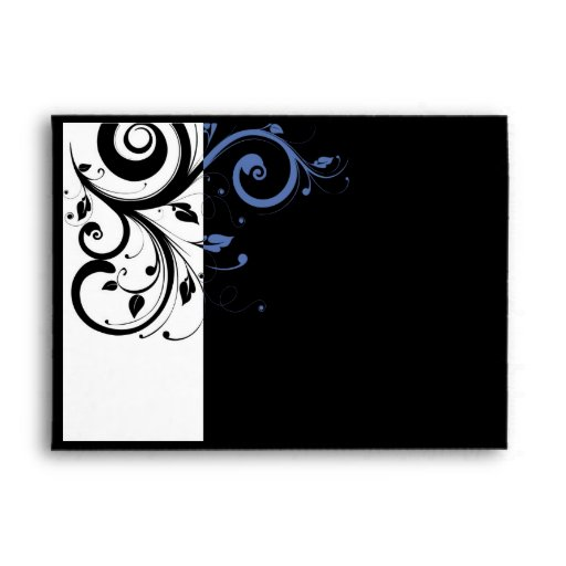 Black Periwinkle Cornflower Blue Floral Wedding Envelope