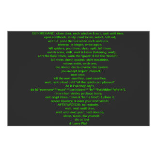 Black Perl Poem (Larry Wall) Poster