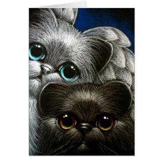 BLACK PERSIAN CAT & ANGEL CUSTOMIZE CARD