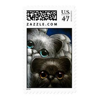BLACK PERSIAN CAT & ANGEL Postage