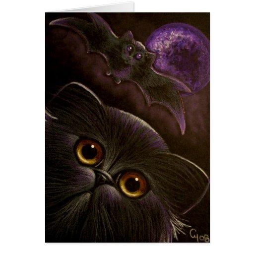BLACK PERSIAN CAT BAT HALLOWEEN NIGHT 3 GREETING CARD