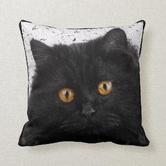 Black Persian Cat Face Throw Pillow