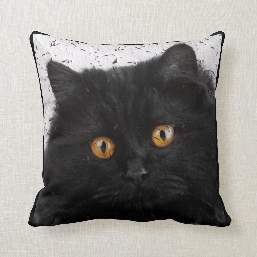 Black Persian Cat Face Throw Pillows Zazzle