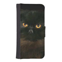 Black persian cat face wallet phone case for iPhone SE/5/5s