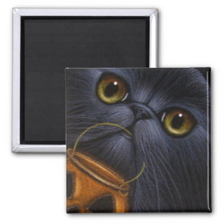BLACK PERSIAN CAT - HALLOWEEN BASKET Magnet