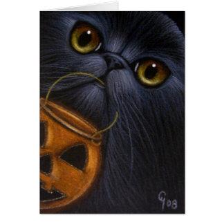 BLACK PERSIAN CAT HALLOWEEN Card