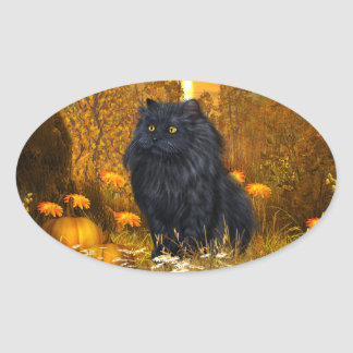 Black persian cat Halloween Oval Sticker