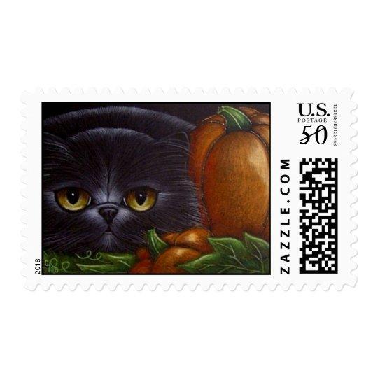BLACK PERSIAN CAT HALLOWEEN PUMPKINS STAMPS