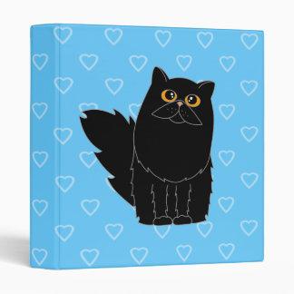 Black Persian Cat Heart Binder