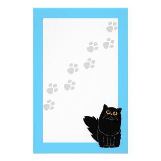 Black Persian Cat Orange Eyes Pawprint Stationery
