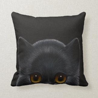 "BLACK PERSIAN CAT PEEKABOO 1 Throw Pillow 16""x16"""