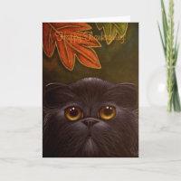 BLACK PERSIAN CAT - THANKSGIVING Card