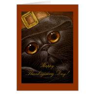 BLACK PERSIAN CAT THANKSGIVING Card