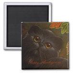 BLACK PERSIAN CAT - THANKSGIVING Magnet