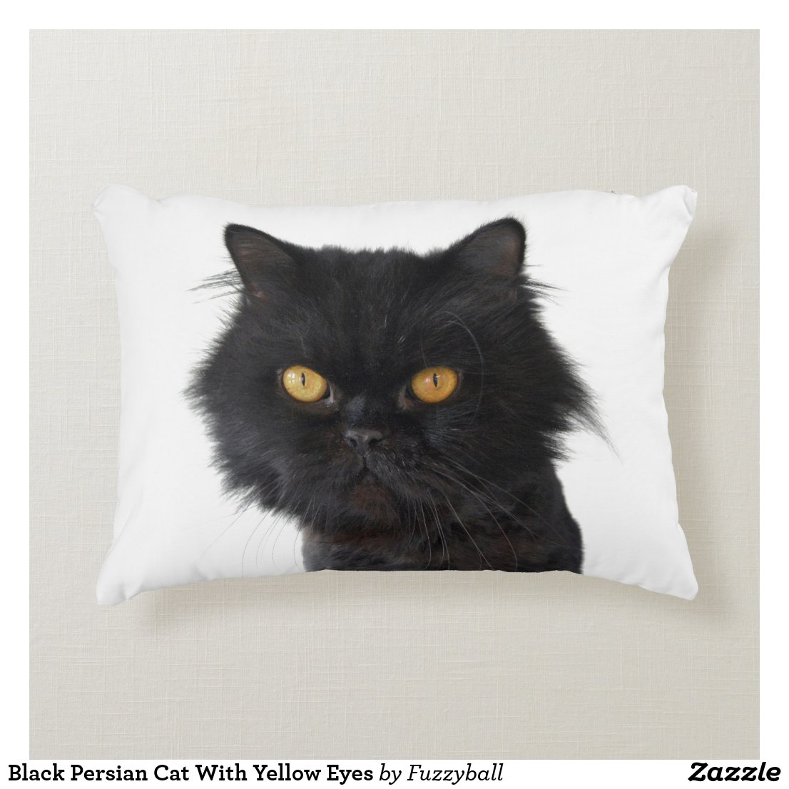 Black Persian Cat With Yellow Eyes Decorative Pillow