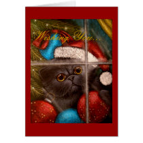 BLACK PERSIAN KITTEN CAT HOLIDAY Card