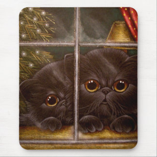 BLACK PERSIAN KITTEN CATS - 1ST CHRISTMAS MOUSE PAD