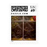 BLACK PERSIAN KITTEN CATS HOLIDAY Postage