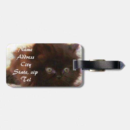 Black persian kitten luggage tags