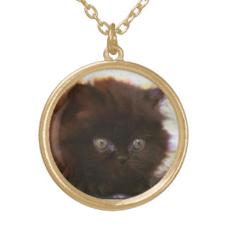Black persian kitten necklace