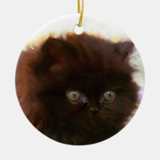 Black Persian Kitten ornament