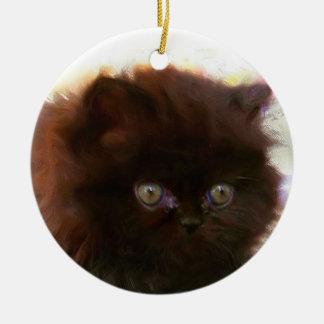 Black Persian Kitten ornament