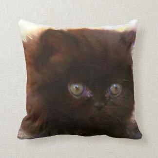 Black persian kitten pillow