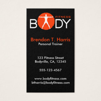 Black Personal Trainer Body Madness Vertical Business Card