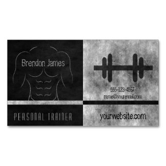 Black Personal Trainer Muscle Man Business Cards Magnetic Business Cards (Pack Of 25)