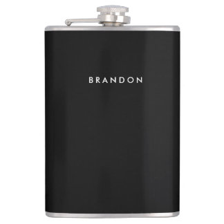 Black Personalized Flasks For Men 8oz